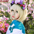 MCOSER Cosplay Wig 35cm Short Ao no Exorcist-moriyama shiemi Soft Gold Costume Anime Lolita Wig