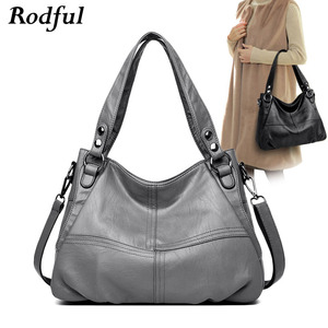 Image 1 - High quality Big gray black leather crossbody shoulder bag female large womens handbags leather ladies tote hand bags women