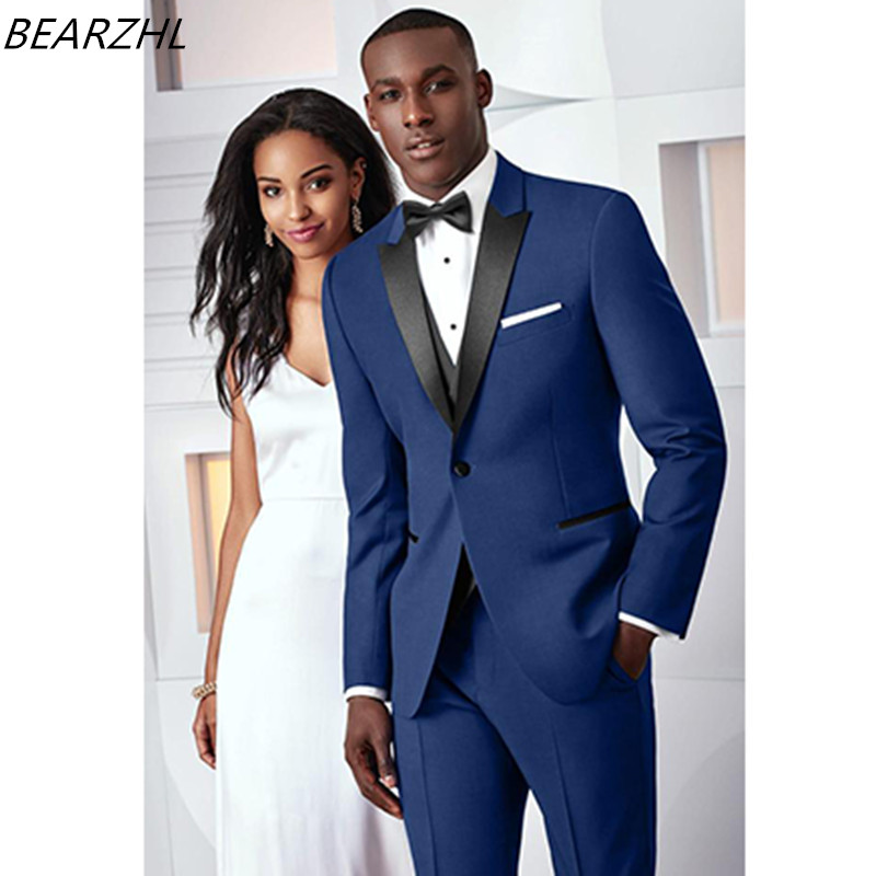 wedding tuxedo royal blue men suits groom wear 3 piece suit slim fit custom made suit 2017