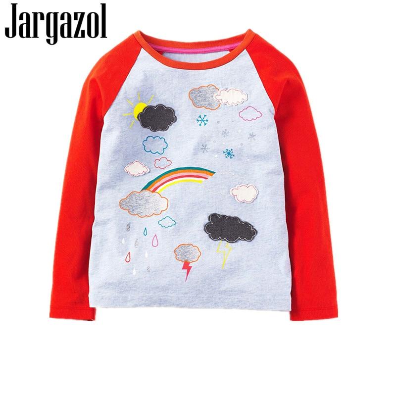 Jargazol Children Brand 2018 Tops Girls Tshirt Cotton Long Sleeve O-neck Rainbow Sunny Weather Print Educational T Shirt 18M-6T