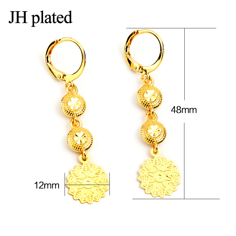 JHplated Ethiopia African jewelery Cute Fashion Lady Gold Color Earrings round for women wedding gift
