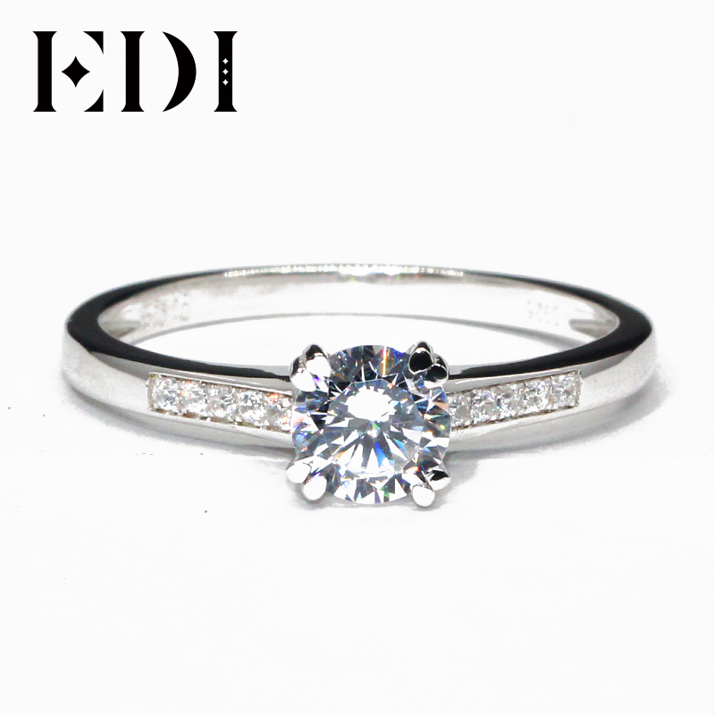 EDI Customized Jewelry Classic Side Stone Wedding Ring 1CT Round Simulated Diamond 9k White Gold Engagement Ring For WomenEDI Customized Jewelry Classic Side Stone Wedding Ring 1CT Round Simulated Diamond 9k White Gold Engagement Ring For Women