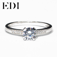 EDI Customized Jewelry Classic Side Stone Wedding Ring 1CT Round Simulated Diamond 9k White Gold Engagement Ring For Women