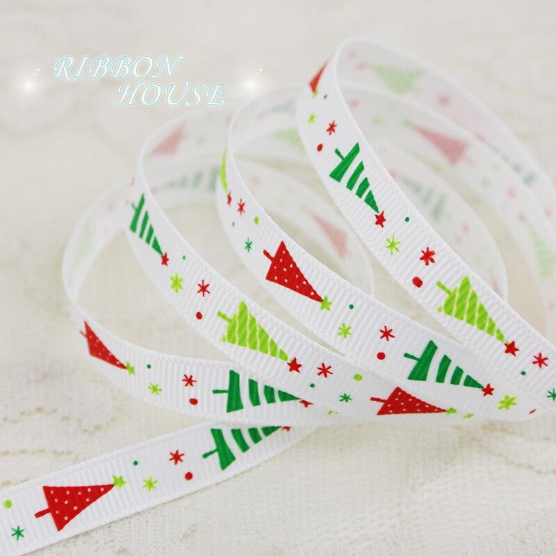 (5 ярдов/партия) 3/8 «(10 мм) белый печатных Рождество ёлки Grosgrain ленты подарок ленты