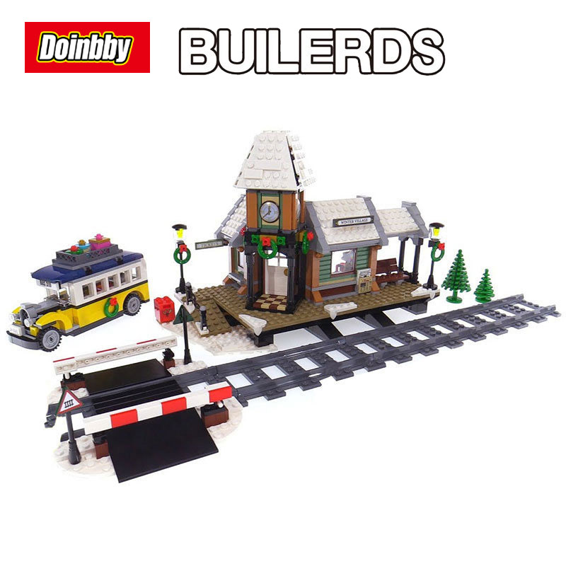 Lepin 36011 Creative the Winter Village Station Set model Building Blocks Bricks Educational Toys Children Gifts 10259 lepin 36010 creative series 1412pcs the winter village market set 10235 building blocks bricks educational toys christmas gifts