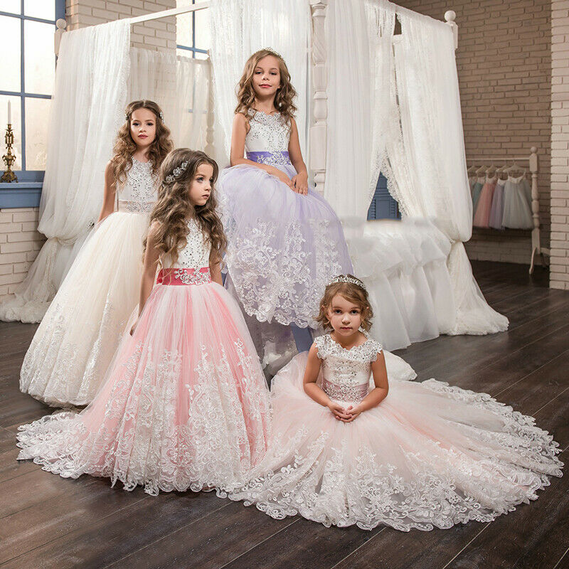 2019   Flower     Girl     Dress   Communion Party Princess Kids Pageant lace appliques Ball Gowns Custom