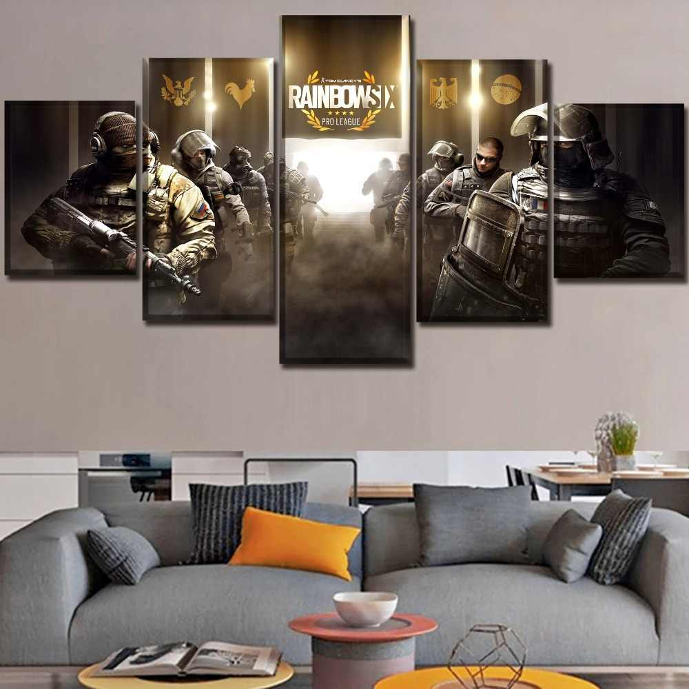 5 Piece Pro League Tom Clancy's Rainbow Six Siege Poster Modern Home Wall  Art Decor Picture HD Print Painting On Canvas Artworks