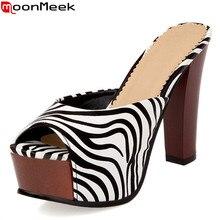 Moonmeek/Модные Полоски зебры женская Обувь на высоком каблуке сандалии Летняя женская обувь Тапочки на платформе Сабо обувь