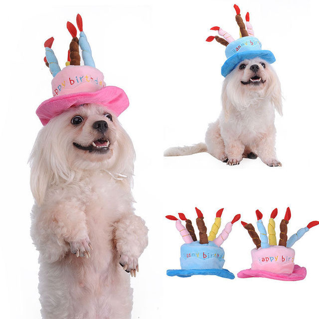 Newest Dog Cat Hat Pet Cap Lovely Happy Birthday Party With Candles For
