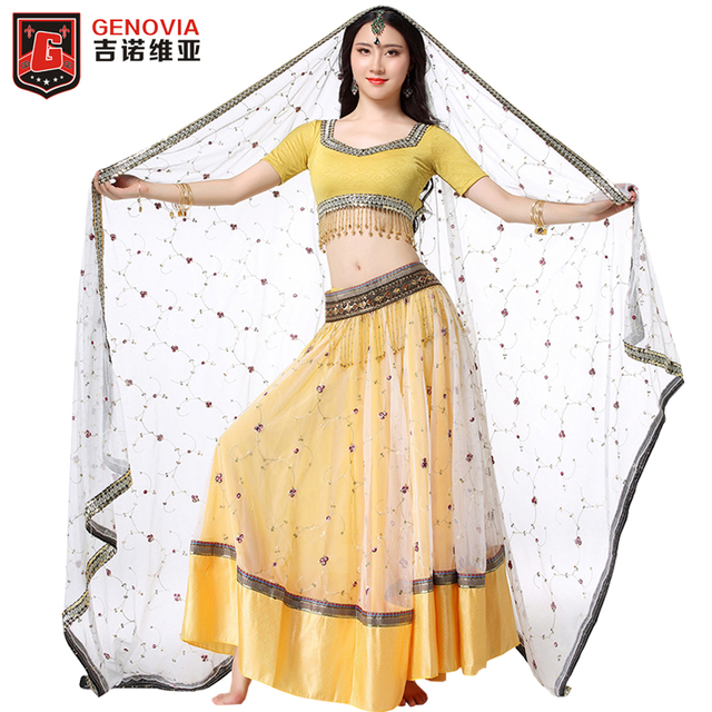 87b3bd36d6 Professional Carnival Bollywood Belly Dance Costume Outfit Set 4 PCS Bra Belt  Skirt Sari Belly Dancing