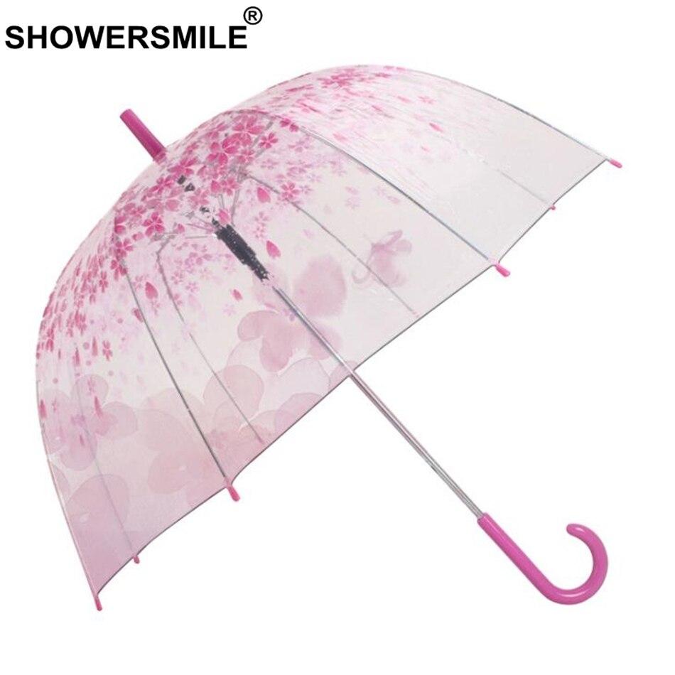 SHOWERSMILE Women Umbrella Transparent Sakura Romantic Pink Apollo Semi Automatic Long Handle Parapluie