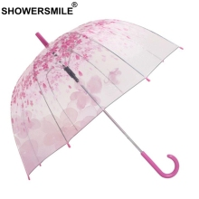 SHOWERSMILE Women Umbrella Transparent Sakura Romantic Pink Apollo Semi Automatic Long Handle Parapluie