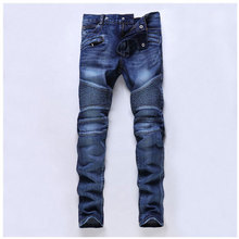 Solid Men Pleated Denim Jeans Straight Slim Pants 2016 Top Fashion Men's Cool Biker Jeans Patchwork Long Pants Trousers 29-36