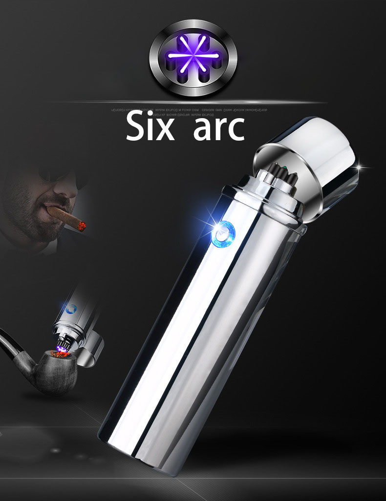 Six ARC Pipe USB Lighter For Ciga Cigarette Plasma Weed Tabaco Windproof Electronic