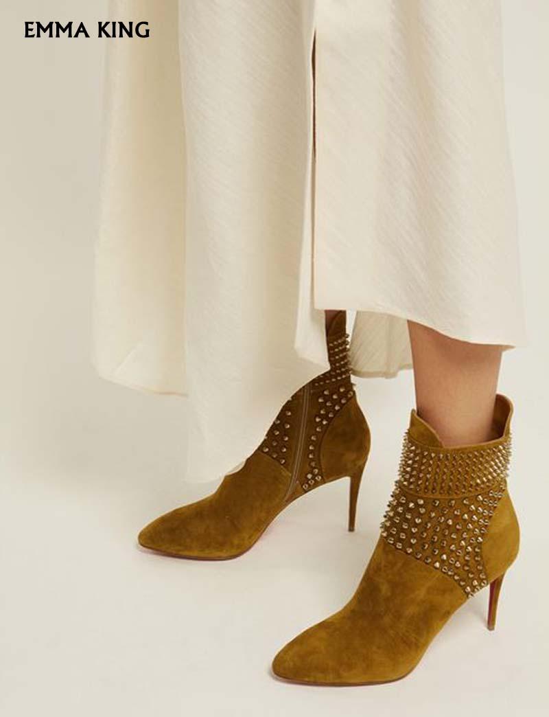 Glissière Femme Suede Bottines À Chaussures Chaussons Clouté Pour Femmes Pointu Bout Talons Sexy Côté 2019 Pic Nouveau Aiguilles As Luxueux Robe Fermeture OHXgS