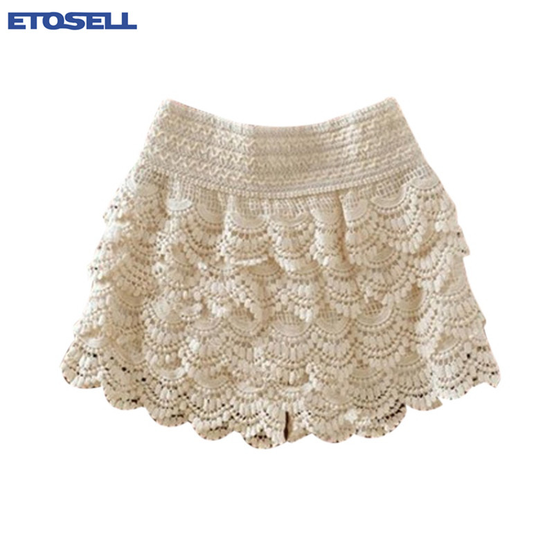 Summer Women Girls Shorts Sweet Lovely Style Lace Crochet Elastic Waist Slim Short Fashion Tops Sexy Skinny Ladies Shorts