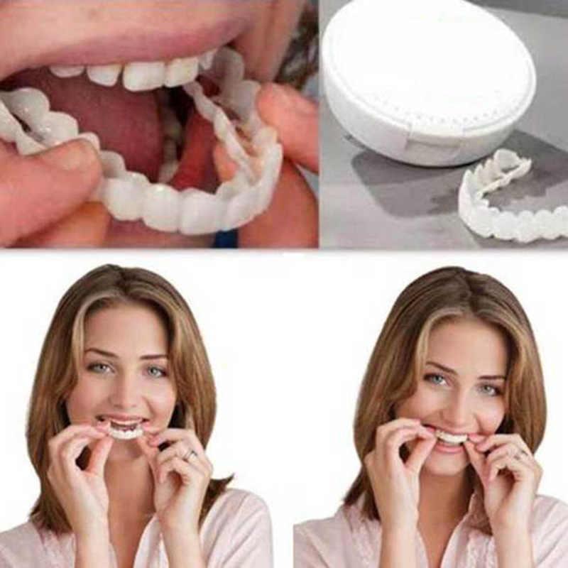 Yeni rahat geçmeli erkek kadın diş mükemmel gülümseme konfor Fit Flex diş uyar beyazlatma gülümseme yanlış diş kapak yeni yukarı ve Bot
