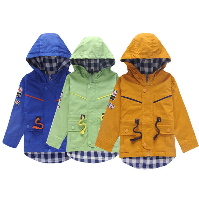 Fashin Boys Trench Coats Hooded Kids Jackets 1-6Y Children's Windbreaker Baby Boys Outerwear Kids Clothes School Autumn SC471