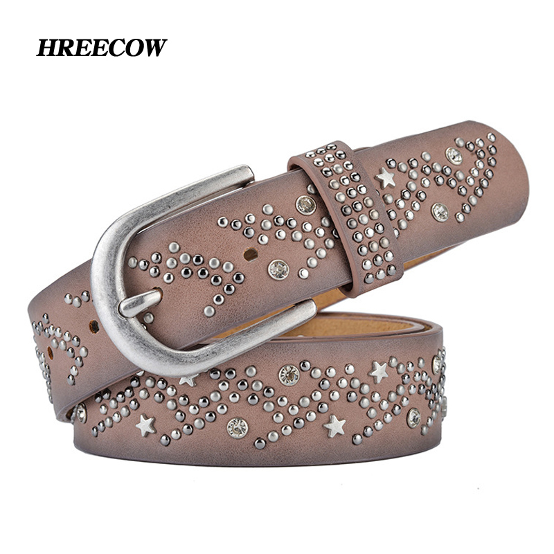 Detail Feedback Questions about New Split Leather + PU Rivet Inlay stars  Belt For Women Fashion Pin Buckle Waist Women Belts Luxury Brands Leather  Belt ... a4f43c79288a