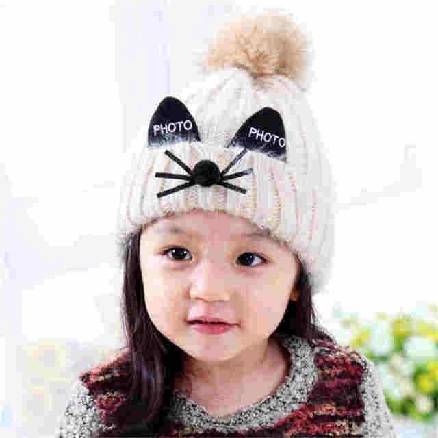 7be5147b763 Children Winter Hat Cute Baby Warm Infant Beanie Cap Boys Girls Animal Cat  Ear Kids Crochet