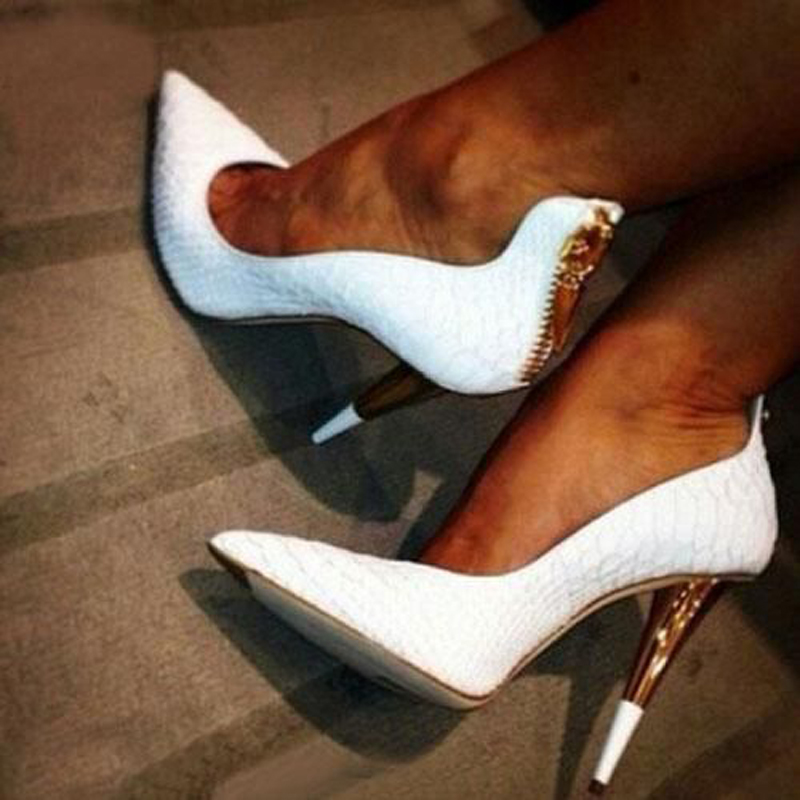 Cuir Femmes Talons Chaussures Zipper white Pompes Pointu Dames Offres Design Blanc Hauts On Handmad Soirée Aiguilles White Slip Pour Mode Sexy Spéciales Femme De Bout En CBeWrodx
