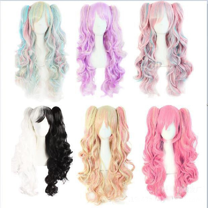 2017 New Fashion Lolita Multicolor Wigs Long Curly Hair Double Ponytail Harajuku Costume Anime Halloween Cosplay Party Daily Wig avenger union 2 thor wig men s long blonde cosplay curly hair wigs