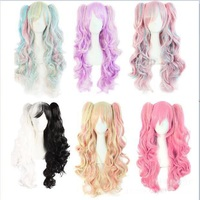 New Fashion Lolita Multicolor Wigs Long Curly Hair Double Ponytail Harajuku Costume Anime Halloween Cosplay Party Daily Wig