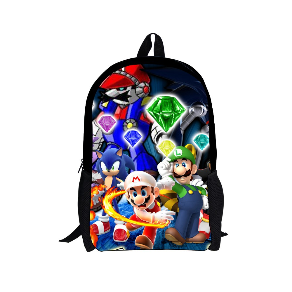 aliexpresscom buy fashion children school bags cartoon game super mario bros sonic the hedgehog schoolbag for boys kids mario luigi bros bookbag from