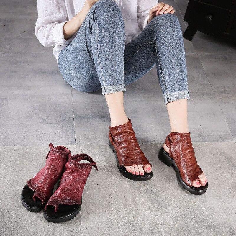 Johnature 2019 ใหม่ฤดูใบไม้ผลิ/ฤดูร้อนของแท้หนังสบายๆ Retro ด้านหลังรองเท้าแตะสำหรับสตรีรองเท้าส้นสูง-ใน รองเท้าส้นสูงเตี้ย จาก รองเท้า บน   3
