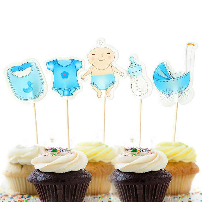 a00de134 cake toppers carriage nursing bottle paper banner for Cupcake Wrapper  Baking Cup birthday tea party decoration