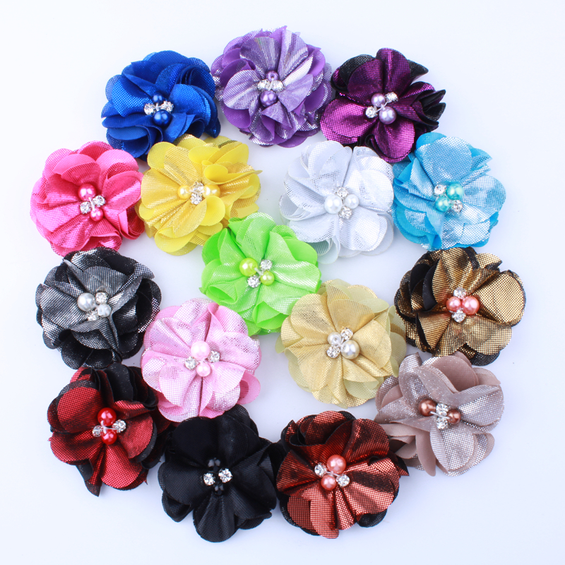 10PCS 5.5CM Fashion Ruffled Metallic Fabric Flowers With Pearls For Hair Clip Lovely Flora Flower For Shoes Apparel Headwear