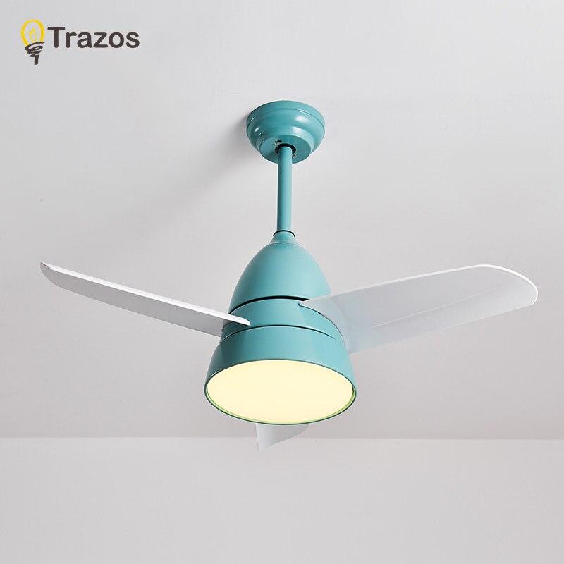 TRAZOS led ventilateur De plafond Avec Des Lumières Pour Enfants Chambre Ventilador De Teto 220 Volts ventilateur De plafond Lampe Chambre ventilateur Éclairage