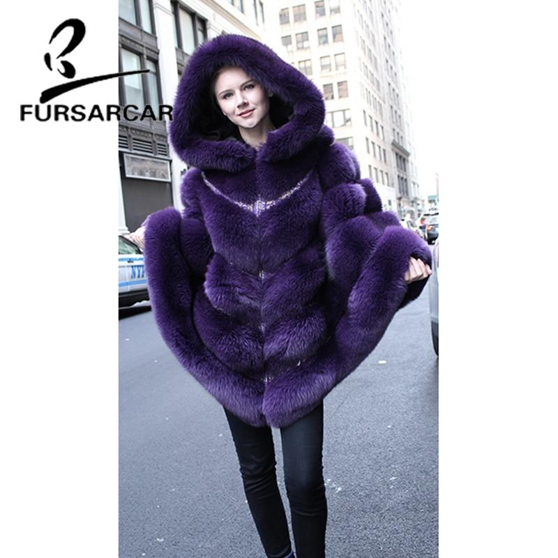 Capuchon D'hiver Renard Femelle Arrivée Violet Femmes Épais Chaud Cape Nouvelle Châles Avec De Luxe Couleur Réel Fursarcar Fourrure rQdCsxth