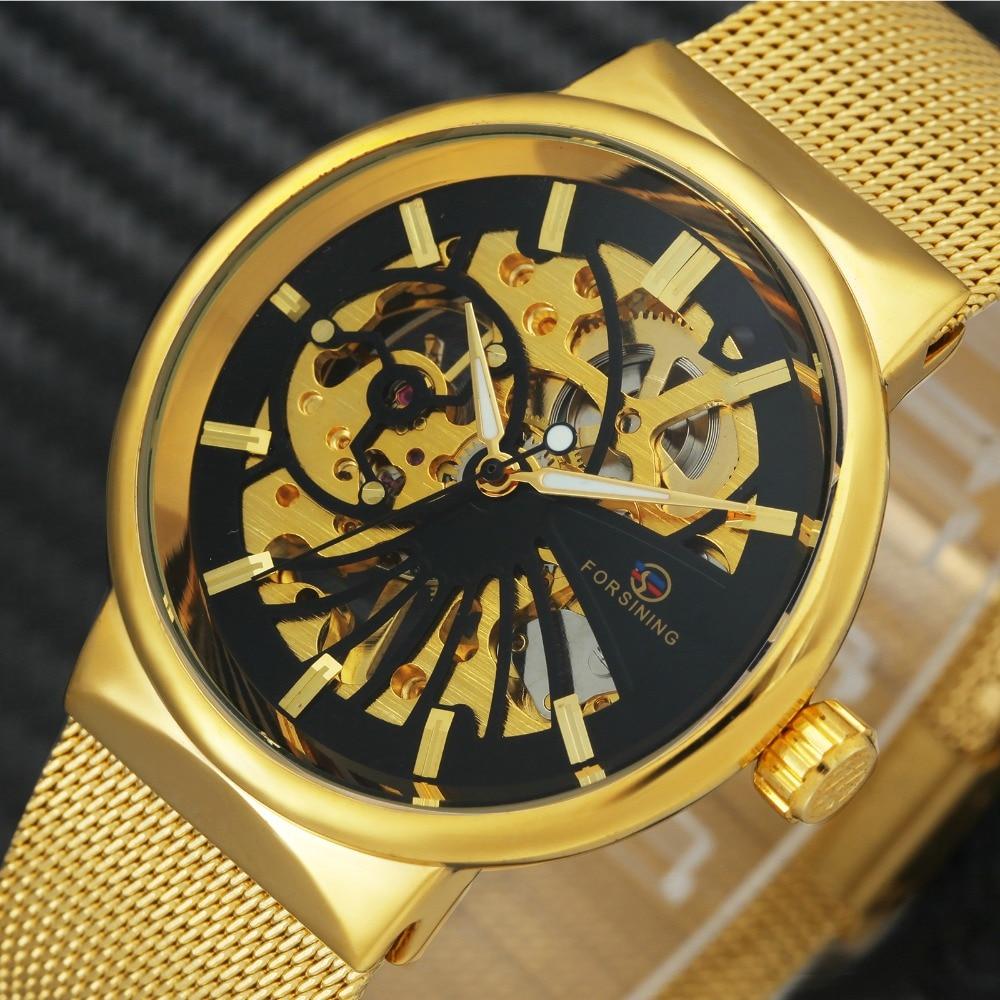 Caliente FORSINING Top marca hombres de lujo reloj mecánico Skeleton Dial de oro real moda Thin Unisex malla pequeña muñeca relojes de tamaño