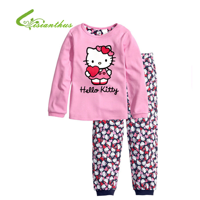 0ce4cdef8 Children Pajamas Cotton Nightwear Hello Kitty Princess Cartoon Loungewear  Kids Girls Homewear Spring Autumn Sleepwear Free Ship