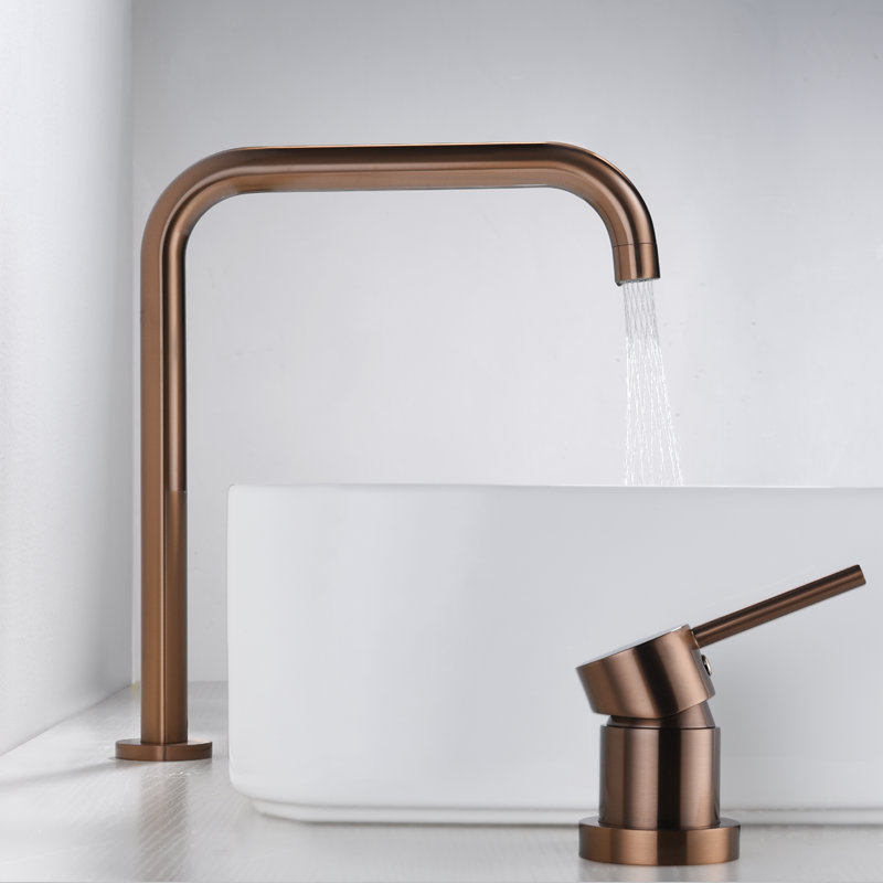 Basin faucet Bathroom super long pipe two holes Rose Gold bathroom faucet sink tap 360 rotating widespread Black basin TapBasin faucet Bathroom super long pipe two holes Rose Gold bathroom faucet sink tap 360 rotating widespread Black basin Tap