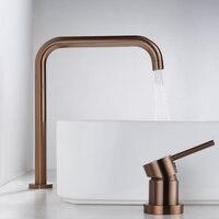 Basin faucet Bathroom super long pipe two holes Rose Gold bathroom faucet sink tap 360 rotating widespread Black basin Tap