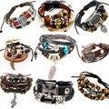 Pulseiras masculinas de couro cordão retro, pulseira de lã para mão cordão de couro, bracelete feminino e masculino, bracelete trançado cordão masculino, jóia