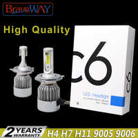 BraveWay C6 H13 Led Headlight H4 H7 H11 Turbo Led H13 9006 HB4 Led Bulbs All for Car Fog Light H11 Lamp for Auto Light Bulbs Hb4