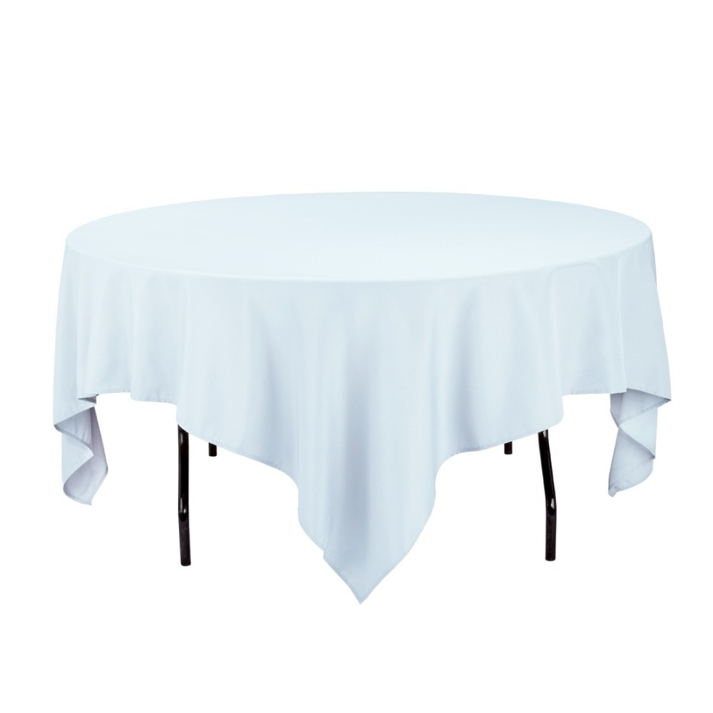 HK DHL Stain Feel 85 inch/216cm Polyester Square Tablecloth Baby Blue for Wedding, 5/Pack
