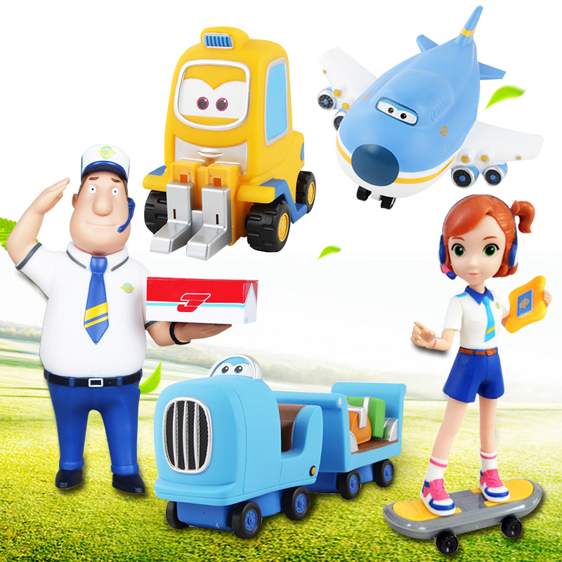 5 Models 14cm Jimbo Super Wings Mini Figures ABS Robot Toys Superwings Q Version Cute Mini Airplane Robot For Birthday Gifts