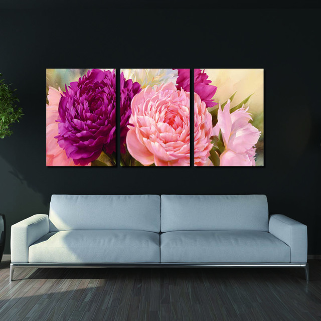 Pictures Canvas Painting peony Flower Painting Wall Art Decorative for living room  Canvas Wall Art Modular Picture(Unframed)