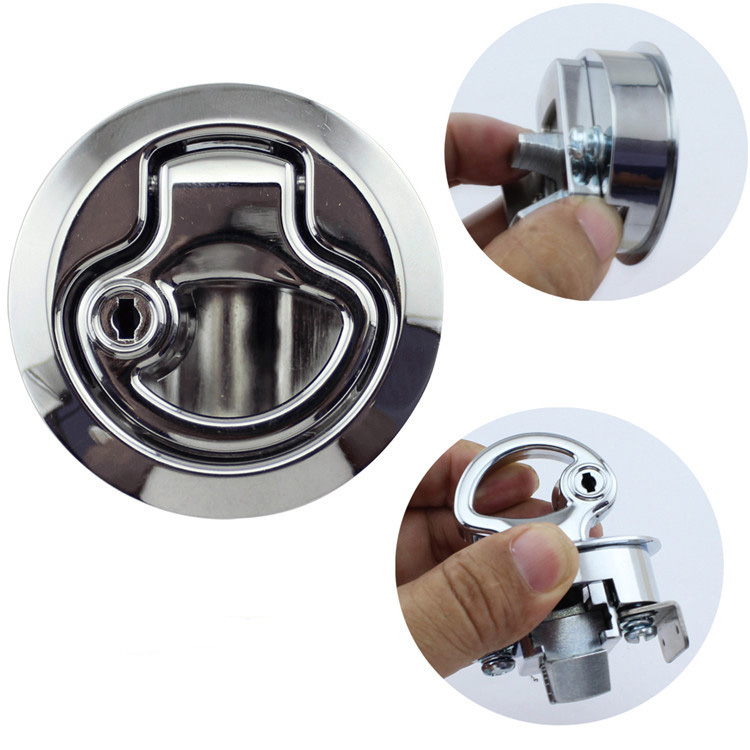 2Inches Zinc Alloy Flush Pull Latch Floor Lift Handle Deck Hatch Deck Lock with the Key-in Marine Hardware from Automobiles & Motorcycles