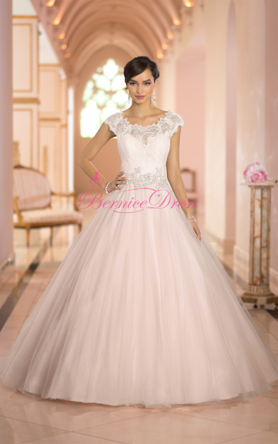 Ball Gown Wedding Dresses 2014 Court Train Scoop Lace Tulle Light - Light Pink Wedding Dresses
