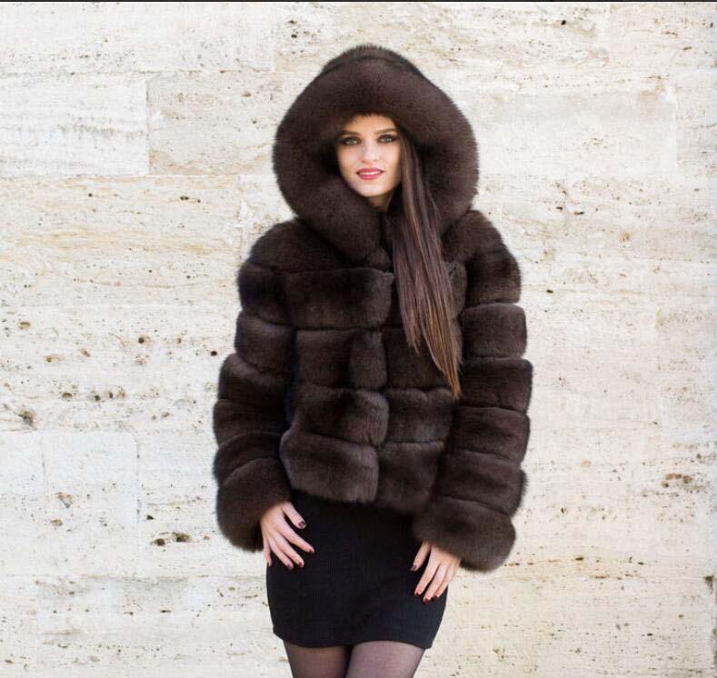 Style Color Naturel Réel De Sable Femmes Détachable Fourrure Manches Capuche Renard Manteau Longues Couleur Luxe Veste À Avec D'hiver pXXxw