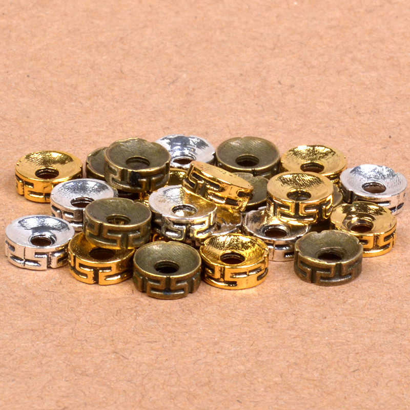 Antique Silver/Gold/Bronze 8mm Tibetan Rondelle Beads Spacer Beads For Jewelry DIY Fashion Round Metal Wheel Charms