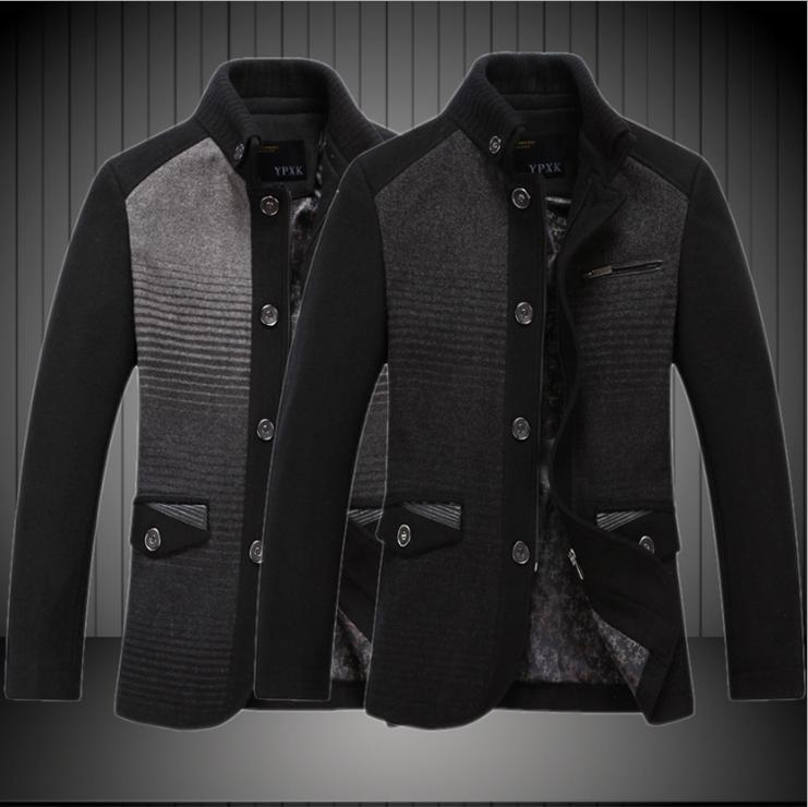 Wholesales Woolen Pea Coats Men Warm Jackets Casual Mens Breasted ...