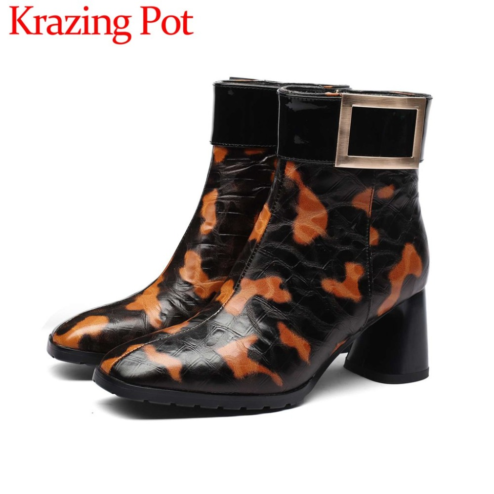Eueopean style retro zip chelsea boots big size buckle mixed colors cow leather classic square toe high heels ankle boots L36Eueopean style retro zip chelsea boots big size buckle mixed colors cow leather classic square toe high heels ankle boots L36