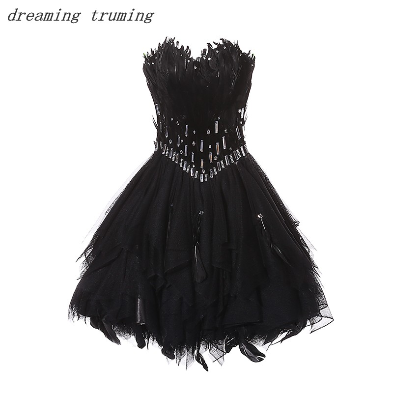 Black Short   Cocktail     Dresses   2019 Feather Pleated Ball Gowns Women Formal Prom Party Gown   Cocktail     Dress   Real Photos