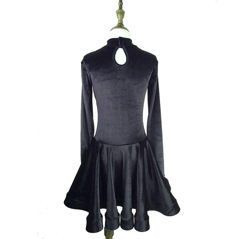 Robe de danse latine Standard pour filles velours à manches longues robes de danse de salle de bal pour enfants compétition Performance porter DN1335 - 2